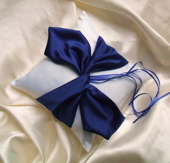 Knottie Ring Bearer Pillow...You Choose the Colors....Buy One Get One HALF OFF..shown in white/royal blue
