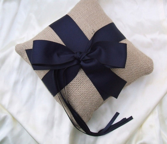 Rustic Earthy Burlap Ring Bearer Pillow with Satin Ribbons.......BOGO Half Off......Customized with Your Wedding Colors...