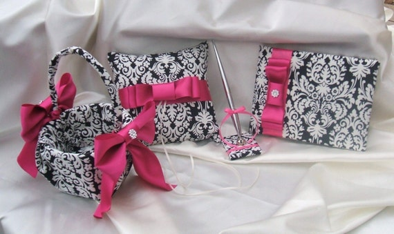Waverly Black and Ivory Damask 4 Piece Set...Ring Bearer Pillow..Flower Girl Basket...Guest Book and Pen...You Choose The Ribbon Colors...