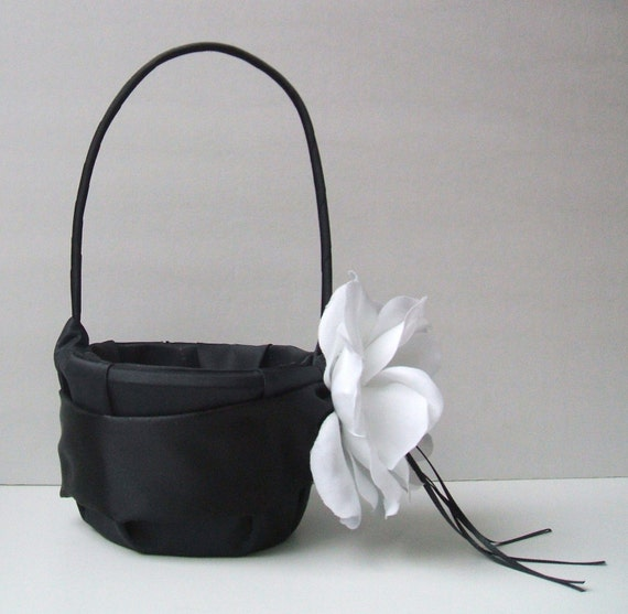 Satin and Sash Flower Girl Basket with Large Handmade Real Feeling Rhinestone Center Rose..You Choose The Colors..shown in black/black/white