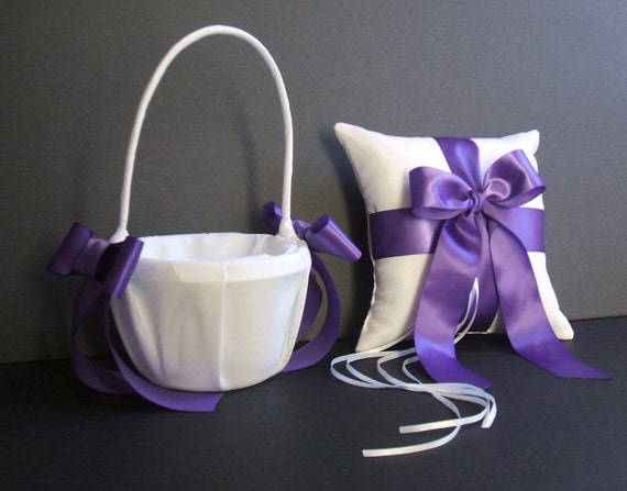 Custom Colors Flower Girl Basket and Romantic Satin Ring Bearer Pillow Combo...You Choose The Colors...shown in white/royal grape purple