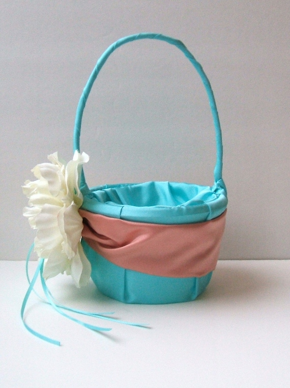 Romantic Peony Bloom Flower Girl Basket in turquoise/coral/ivory with Crystal Rhinestone Accents..