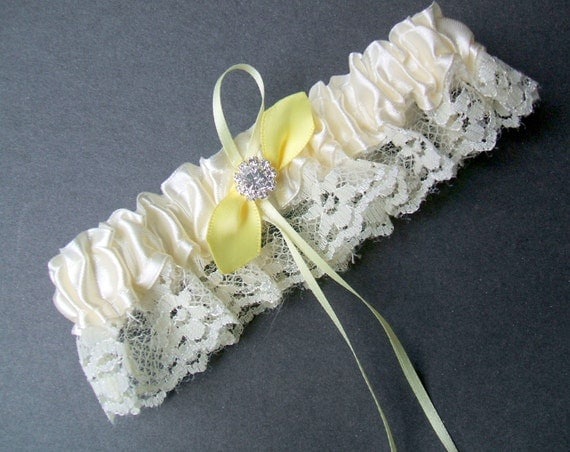 Lovely Vintage Knottie Style Ivory Lace Garter with Yellow Satin and Swarovski Crystal Accents...