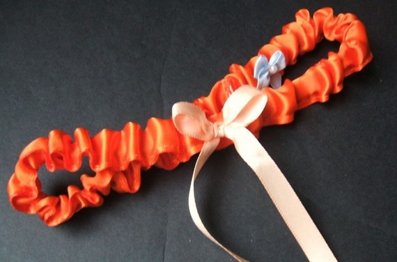 Simple Satin Bridal Garter with BONUS Something Blue..You Choose The Colors..shown in orange/peach