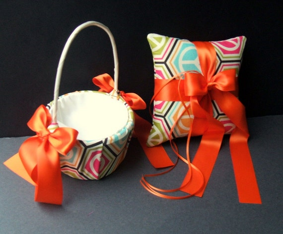 Romantic Style Ring Bearer Pillow and Flower Girl Basket in the Pattern Collection..Customizeable..Shown in spring peace sign/orange