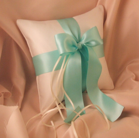 Romantic Satin Ring Bearer Pillow...You Choose the Colors...Buy One Get One Half Off...shown in ivory/aqua