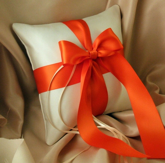 Romantic Satin Ring Bearer Pillow...You Choose the Colors...Buy One Get One Half Off...shown in ivory/orange