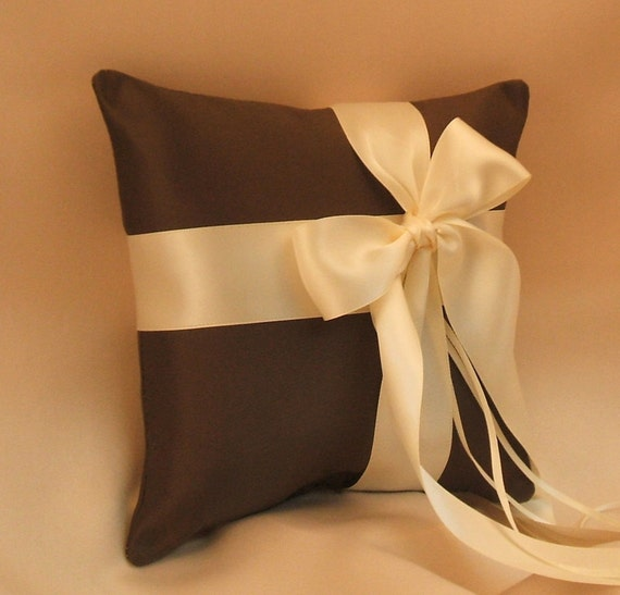 Romantic Satin Offset Ring Bearer Pillow...You Choose the Colors...Buy One Get One Half Off...shown in chocolate brown/ivory