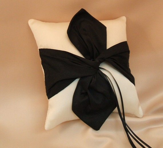 Dupioni Silk Knottie Ring Bearer Pillow...You Choose the Silk Colors....Buy One Get One HALF OFF...shown in ivory/black