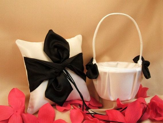 Knottie Style Flower Girl Basket and Ring Bearer Pillow Combo...You Choose The Colors..shown in ivory/black