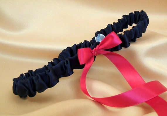Simple Satin Bridal Garter with BONUS Something Blue..You Choose The Colors..shown in navy blue/hot pink