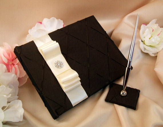 Pintuck Taffeta Diamonds Wedding Guestbook and Pen Set in Chocolate Brown with an Ivory Sash and Rhinestone Button