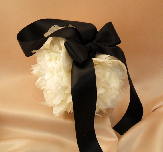Lovely Silk Peony Bloom Pomander in 6 Inch Size...You Choose The Colors...shown in ivory/black