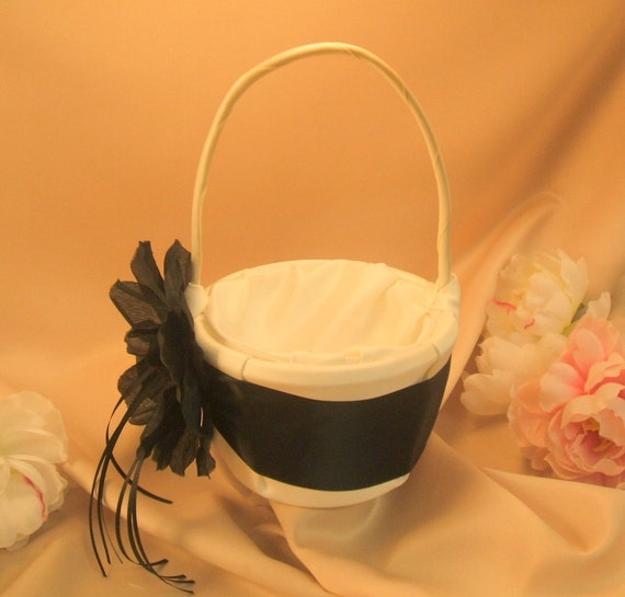 Satin and Sash Flower Girl Basket with Large Handmade Real Feeling Rhinestone Center Rose..You Choose The Colors..shown in ivory/black