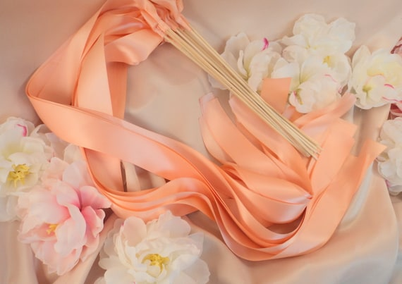Instead of Rice Jumbo Ribbon Streamer Sticks..PACK OF 50...You choose the Ribbon Color..shown in peach