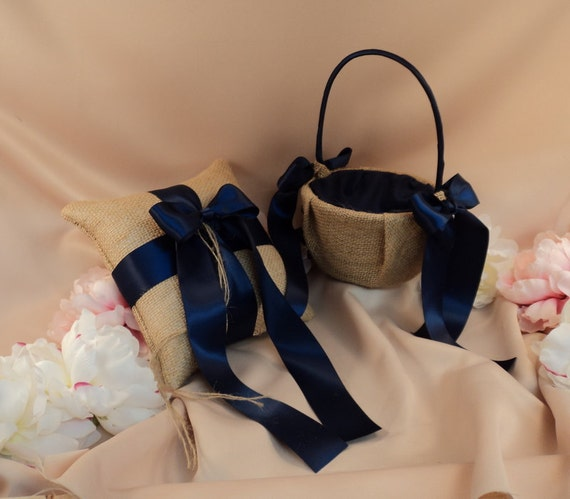 Rustic Earthy Burlap Ring Bearer Pillow and Flower Girl Basket Set.......Customized with Your Wedding Colors...shown in navy blue midnight