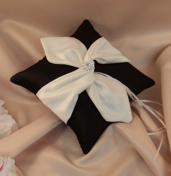 Knottie Ring Bearer Pillow with Vibrant Rhinestone Accent...You Choose the Colors....BOGO Half Off..shown in black/ivory