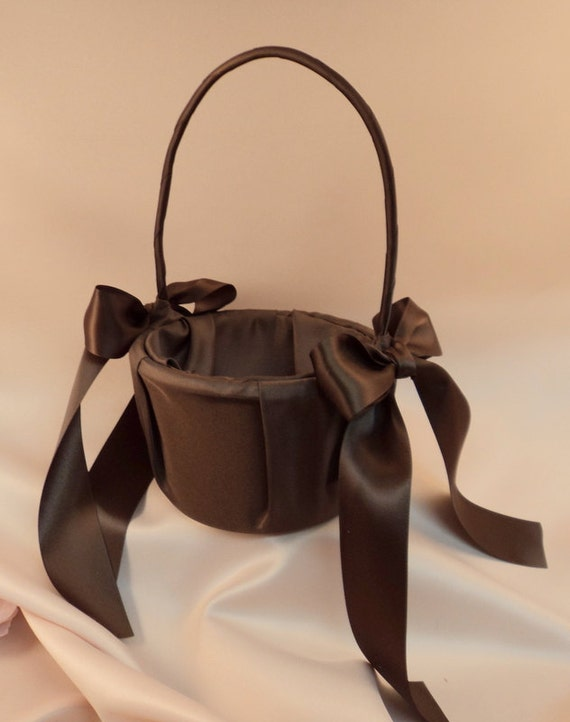 Custom Colors Satin Flower Girl Basket..BOGO Half Off..You Choose the Colors...shown in chocolate brown/chocolate brown