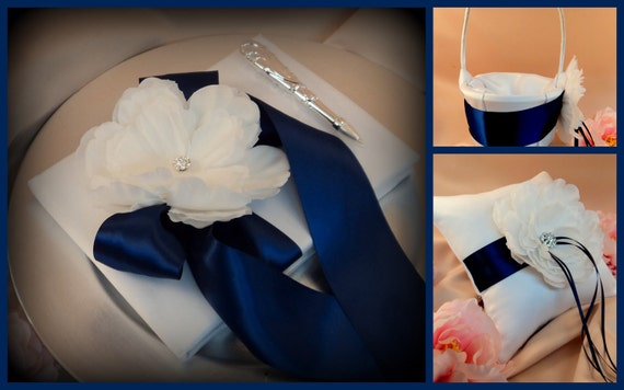 Romantic Peony Bloom 4 Piece Set with Crystal Rhinestone Accents..Many Colors Available for Custom Orders... shown in white/navy blue