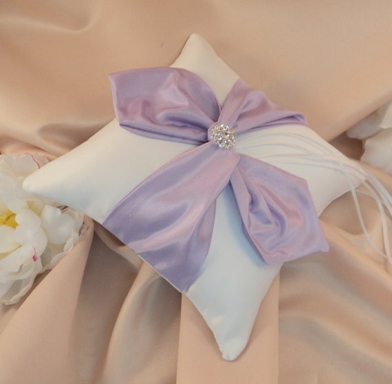 Knottie Ring Bearer Pillow with Vibrant Rhinestone Accent...You Choose the Colors....BOGO Half Off..shown in white/lilac