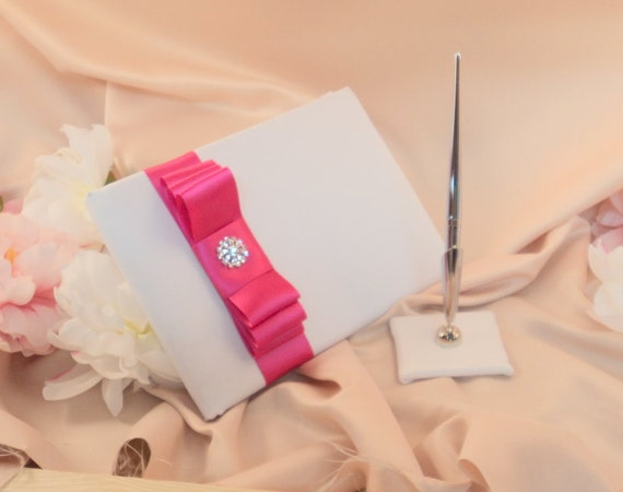 Romantic Satin Wedding Guest Book and Pen Set with Rhinestone Accent...You Choose the Satin Colors.... shown in white/hot pink fuschia
