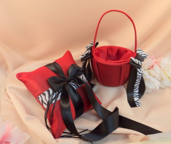Zebra Accent Romantic Satin Ring Bearer Pillow and Flower Girl Basket Set...You Choose the Colors..shown in red/black
