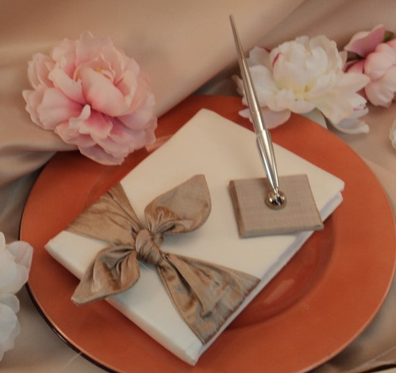 DUPIONI SILK Knottie Wedding Guest Book and Pen Set...You Choose the Silk Colors....shown in ivory/champagne