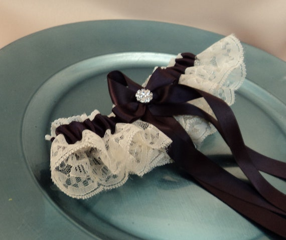 Lovely Vintage Style Ivory Lace Garter with Vibrant Rhinestone Choose the Bow Color..shown in blackberry purple