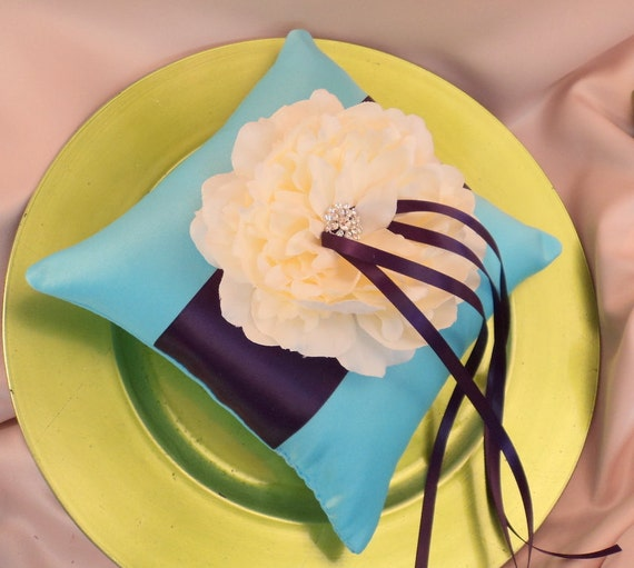 Romantic Bloom Ring Bearer Pillow with Crystal Rhinestone Accents..shown in turquoise/eggplant/ivory