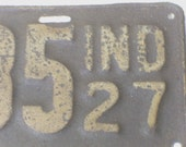 Shabby Rusted 1927 License Plate - Chic Decor