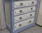 Shabby Blue Vintage Dresser / Chest - Chic  DR503