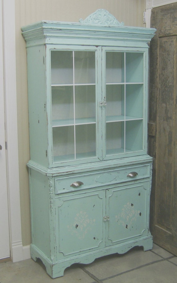 shabby 1940 s aqua painted china cabinet   cupboard