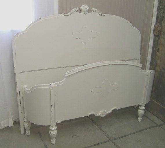 Shabby White Full Size Bed Frame Chic