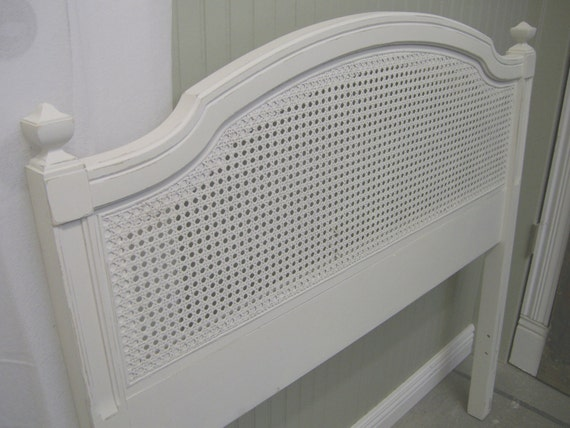 Shabby White Painted Twin Cane Headboard Chic