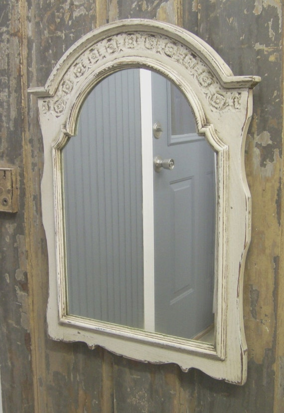 Shabby Painted Distressed White Framed Mirror Cottage Chic