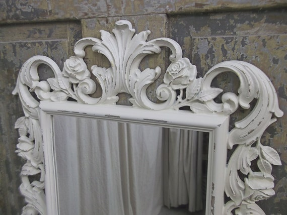 Shabby white rococo style mirror chic for White baroque style mirror