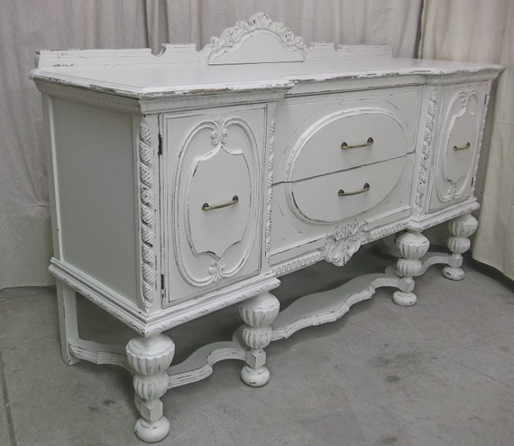 Shabby White 1920's Buffet / Sideboard - Chic  SB501