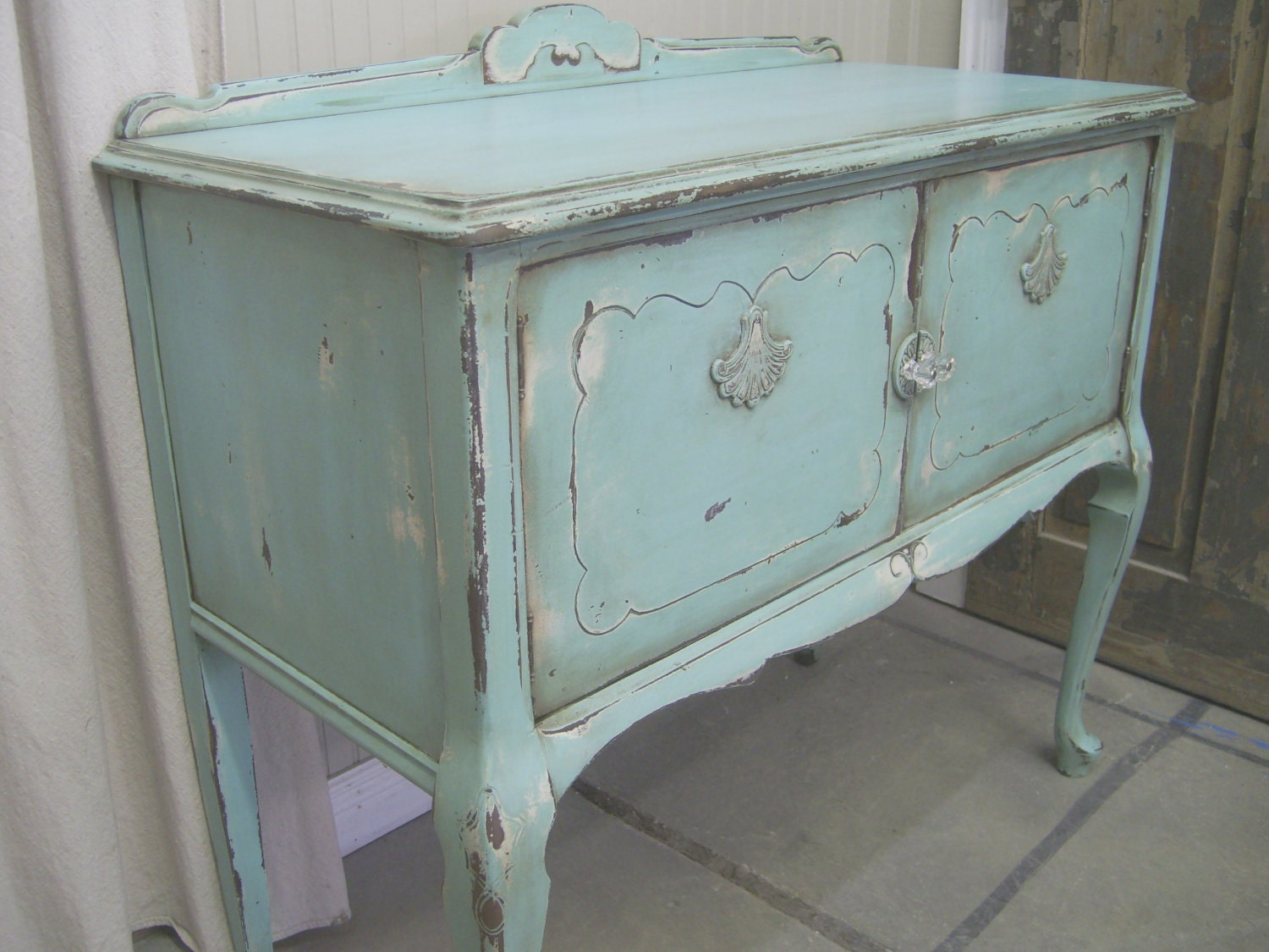 shabby aqua painted buffet server chic. Black Bedroom Furniture Sets. Home Design Ideas