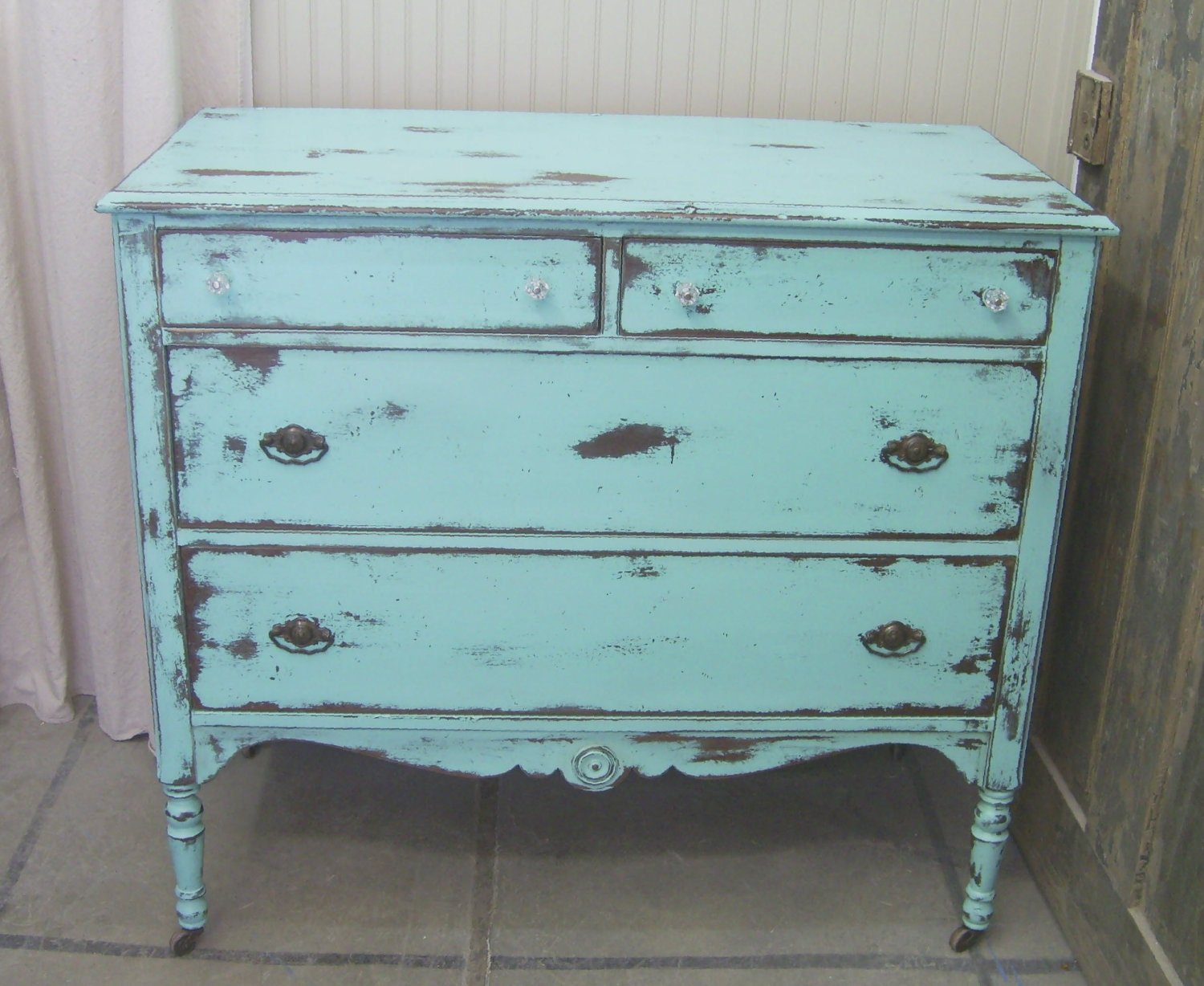 shabby aqua 1930 39 s dresser chest chic. Black Bedroom Furniture Sets. Home Design Ideas