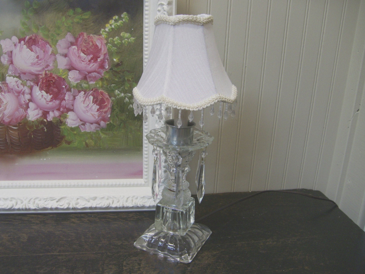 Vintage glass accent lamp hanging crystals beaded shade for Purple beaded lamp shade