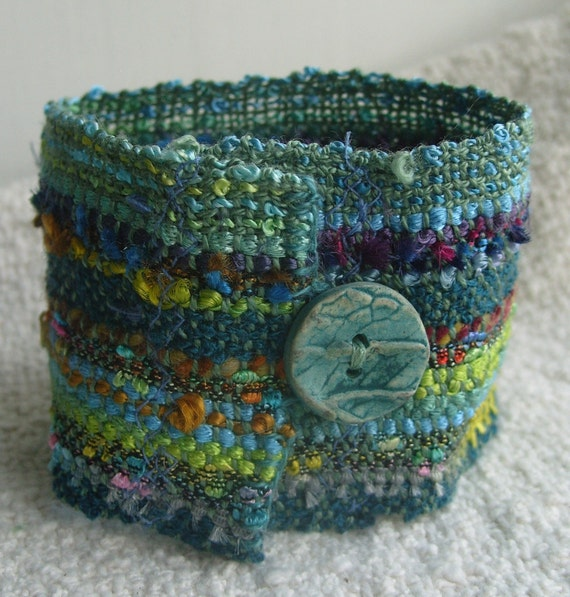 Handwoven Cuff Fabric Bracelet, Forest Glen, with Handmade Button, Free Shipping