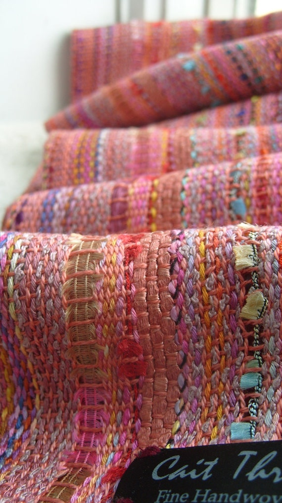 Handwoven Scarf, Morning Rose, Woven Wrap, Shawl
