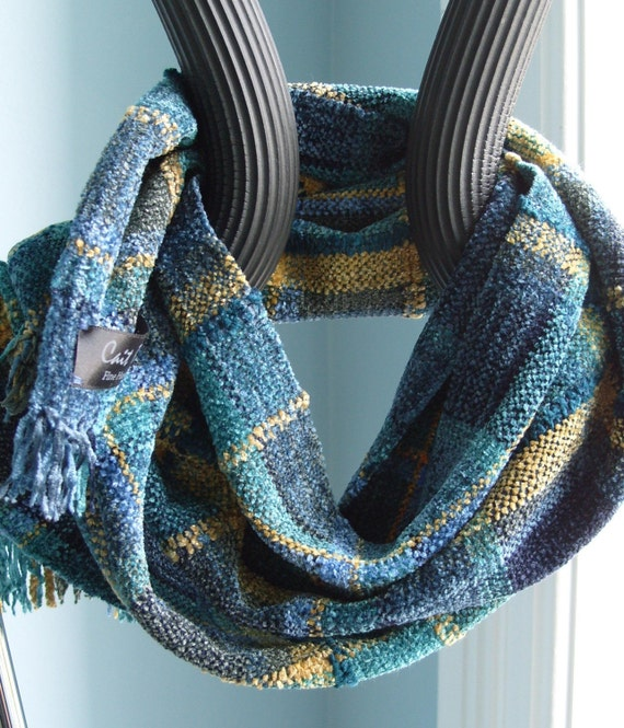 plaid chenille scarf in green and gold for by