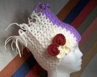 Hat. Neck warmer, cowl, flower, handmade, colorful, crochet, applique, beanie, cap, scarf, gift. Spring Flowers.