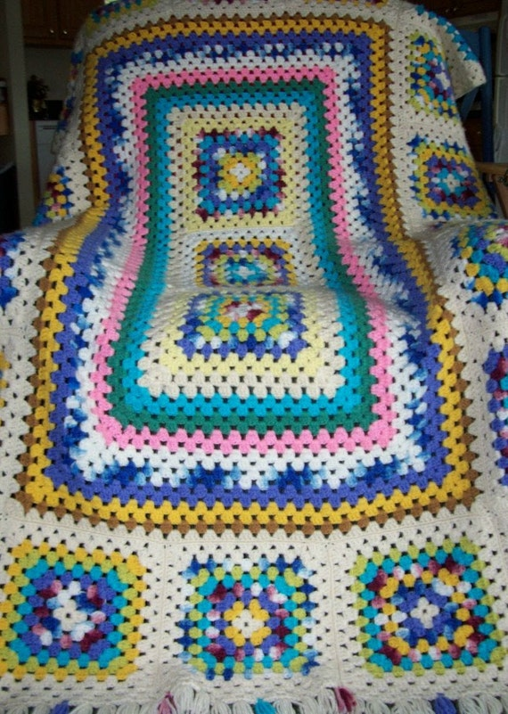 Granny's delight afghan. Crochet, handmade, colorful, couch cover, granny square, home, gift.