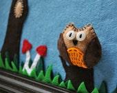 Framed landscape fiber art - Feltscape - Framed felt landscape - ''Cuddly Forest'' owl with tree and mushrooms- all handsewn - OOAK