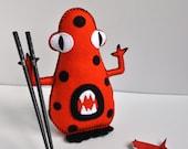 Monster Plush - As Seen in Stuffed Magazine- The Bad Mood Eating Monsters - ''Mr. Orange Hoo'' hand sewn felt - zen companion- OOAK