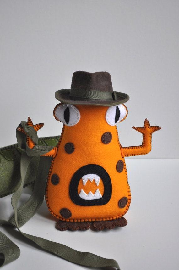 Monster Plush - The Bad Mood Eating Monsters - ''Dr. Jones'' hand sewn felt - AS Seen In Stuffed Magazine - OOAK