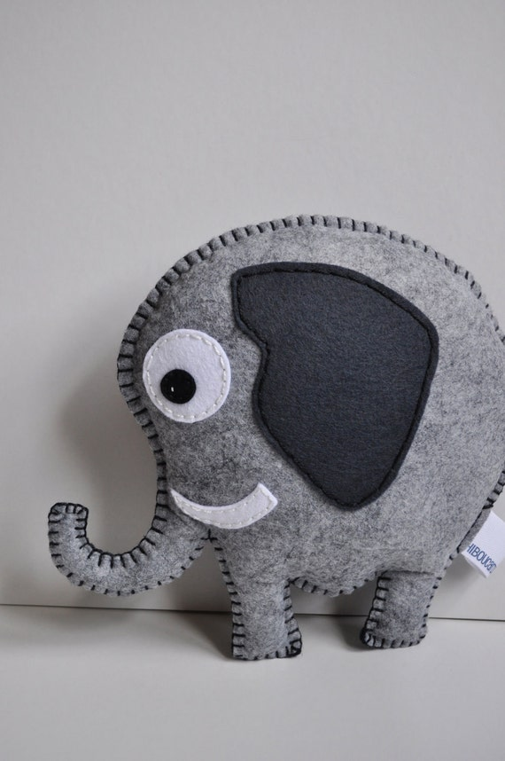 RESERVED for Carrie -Elephant pillow - all hand sewn - OOAK
