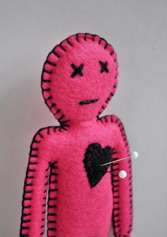 Voodoo Doll pincushion - breakup doll - hand sewn felt anthropomorphic pink doll - desk companion and stress release friend - OOAK